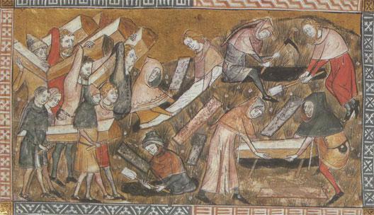 enterrements grande peste 1348 Tournai